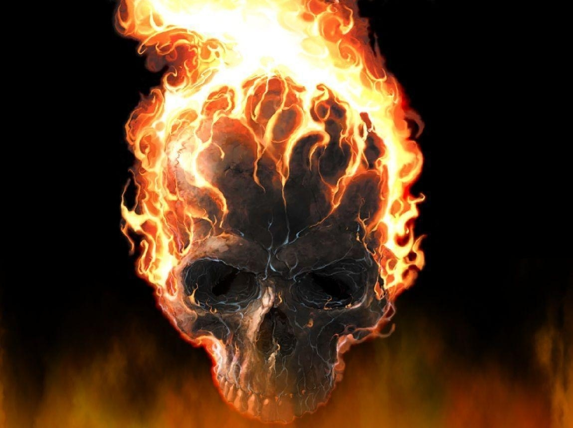 skulls on fire wallpapers - wallpaper cave