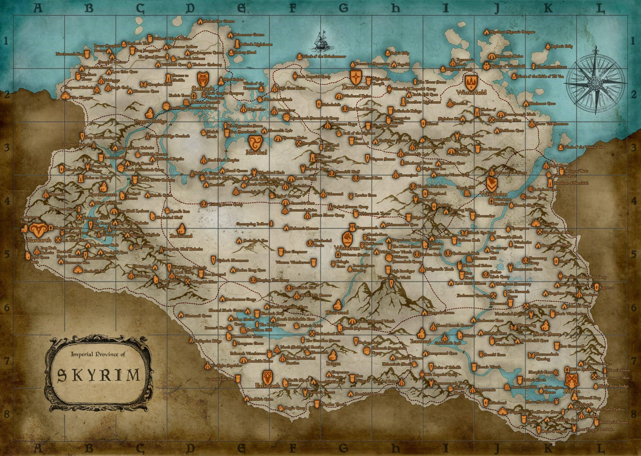 skyrim map wallpaper (1900x1080) : skyrim