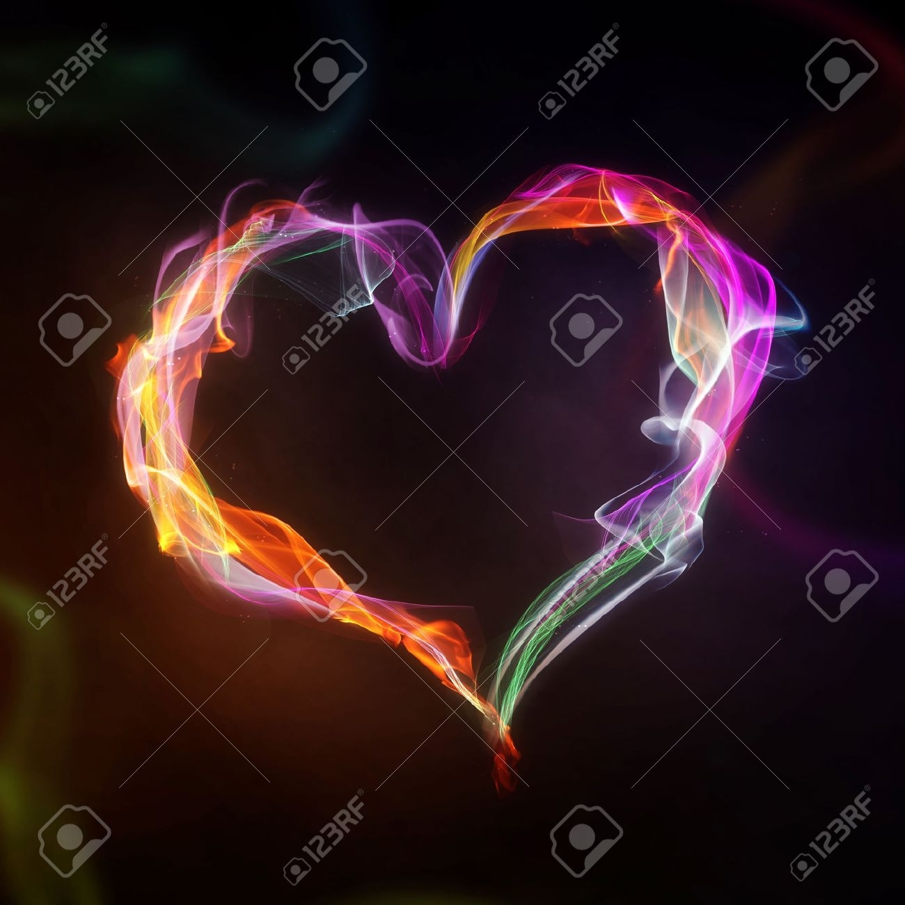 smoke and flame heart on a black background stock photo, picture and