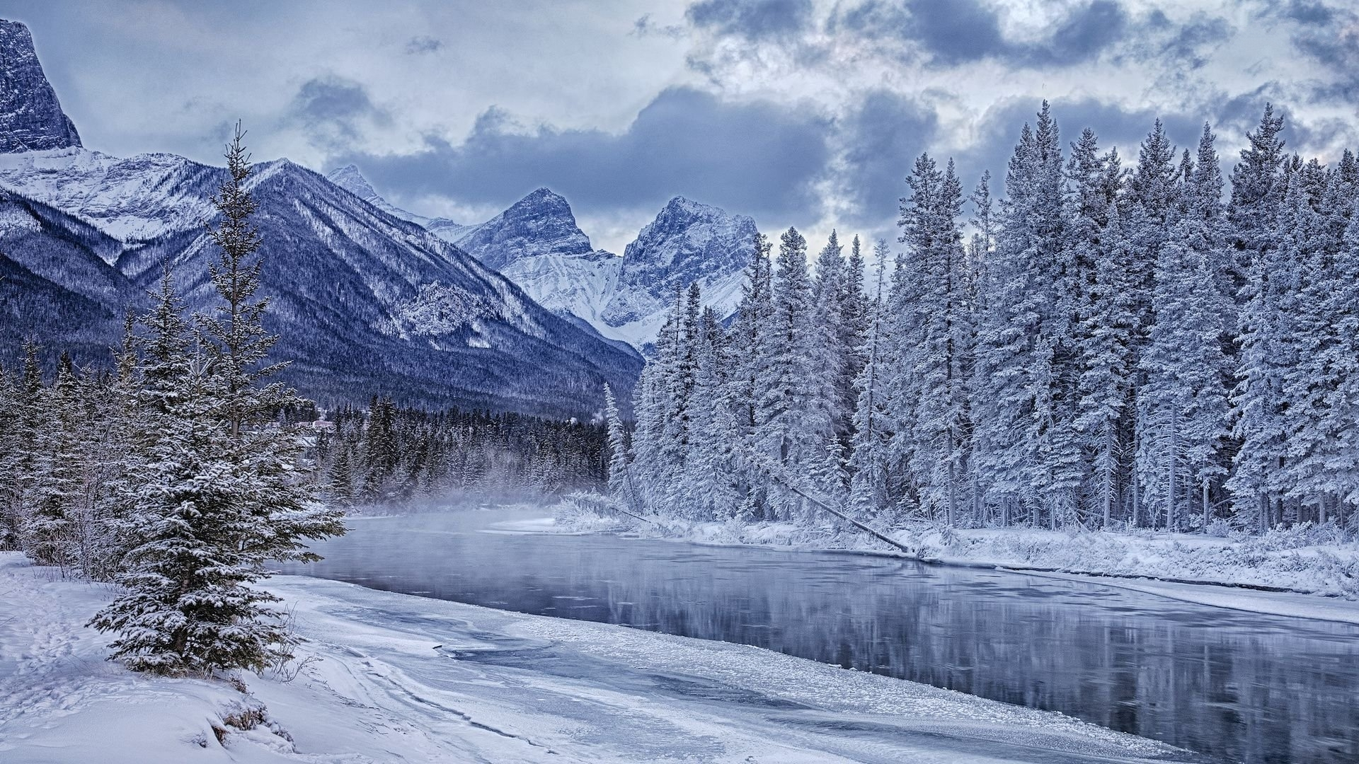 snow river winter landscape wallpaper full hd. - media file
