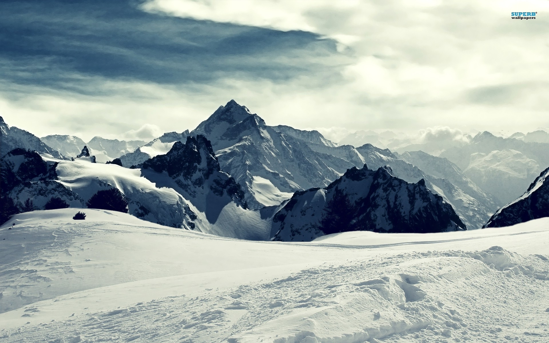 snowy mountains winter wallpaper. - media file | pixelstalk