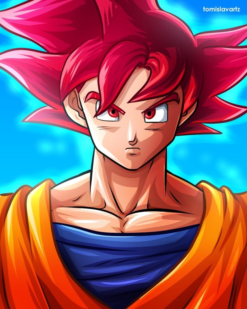 son goku (super saiyan god)tomislavartz on deviantart