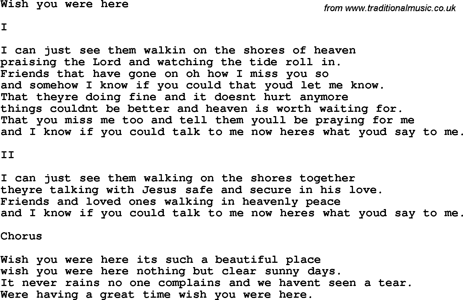 southern and bluegrass gospel song wish you were here lyrics