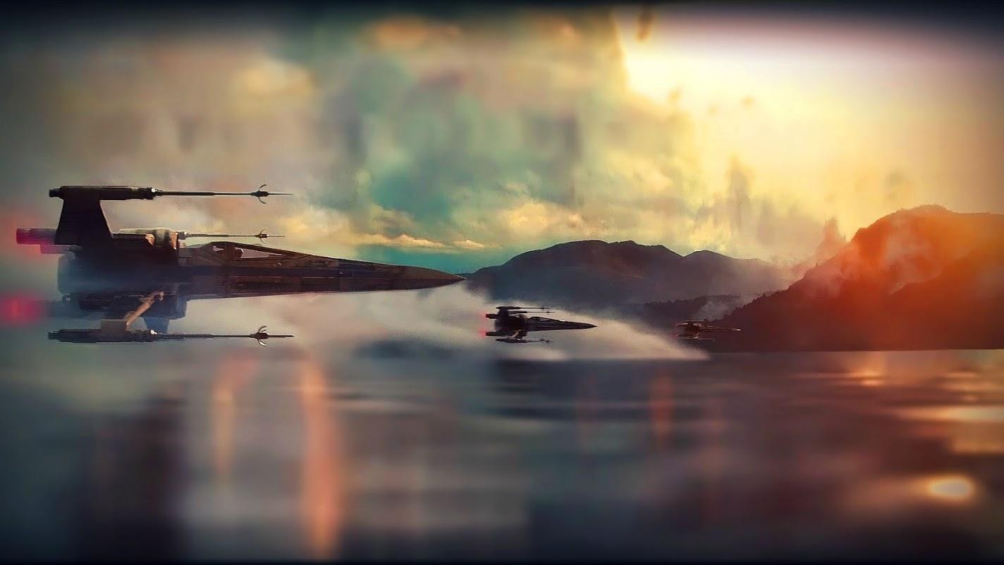 star wars x-wing over water desktop wallpaper