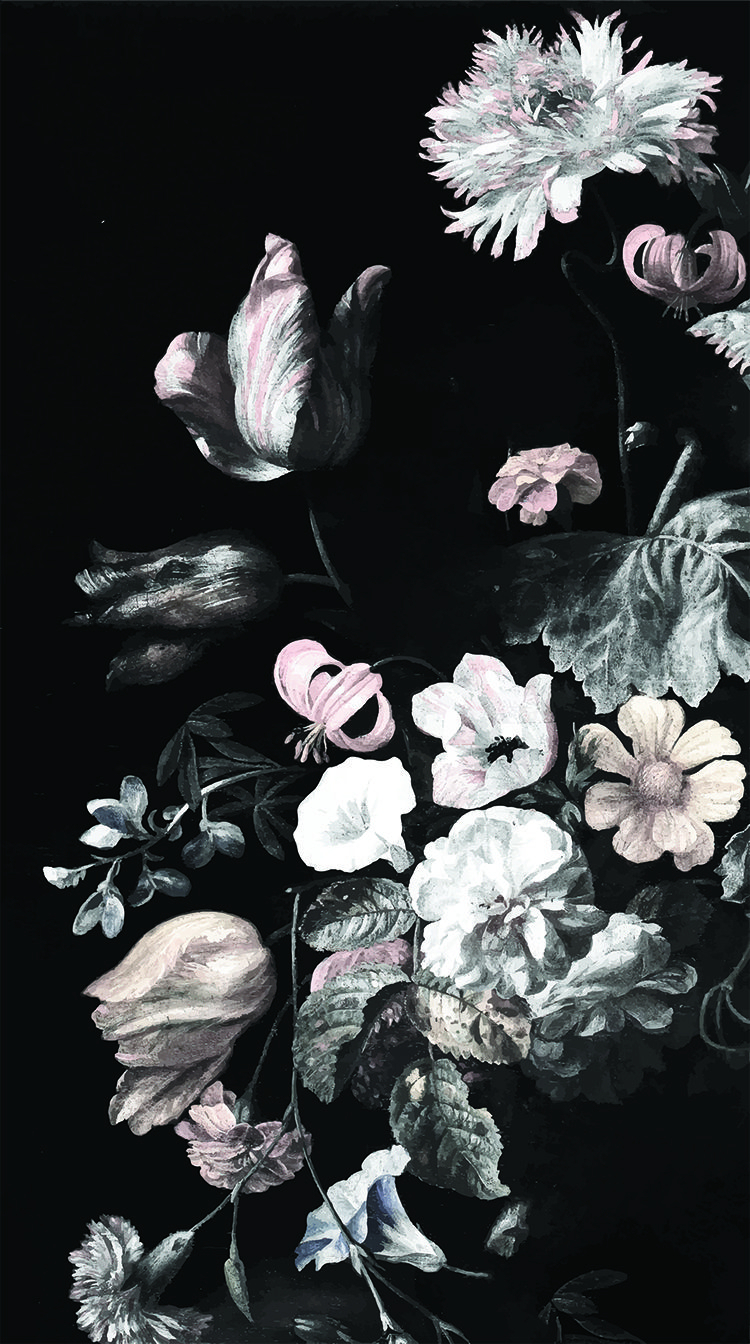 still life floral mural - dark floral mural, floral wallpaper | art