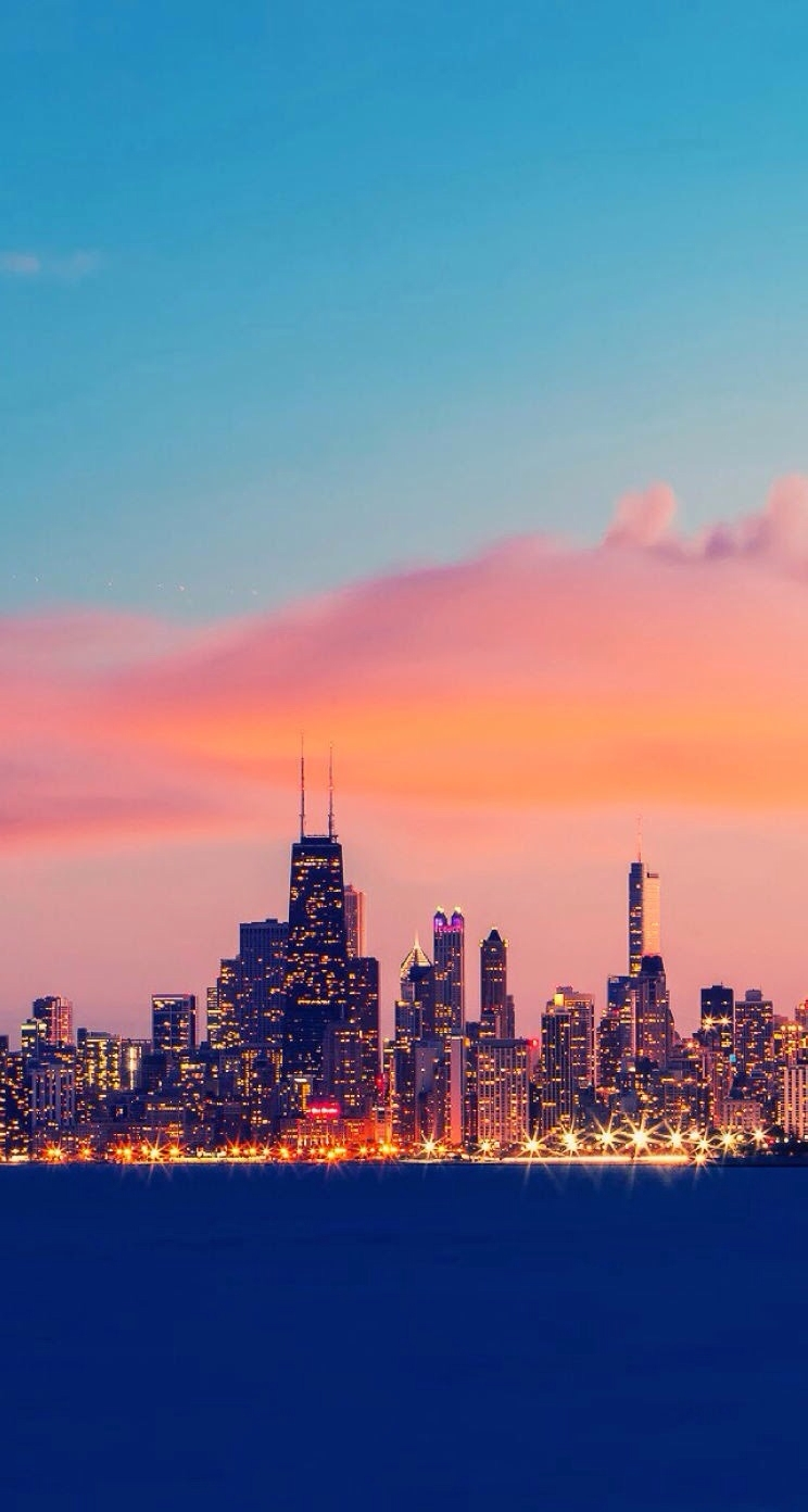 sunset. chicago. skyline. wallpaper. iphone. | walle artt