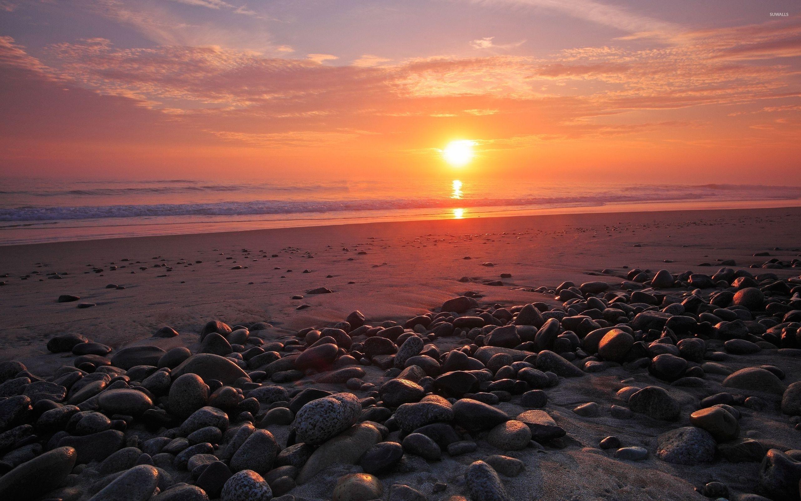 sunset over the ocean wallpaper - beach wallpapers - #33117