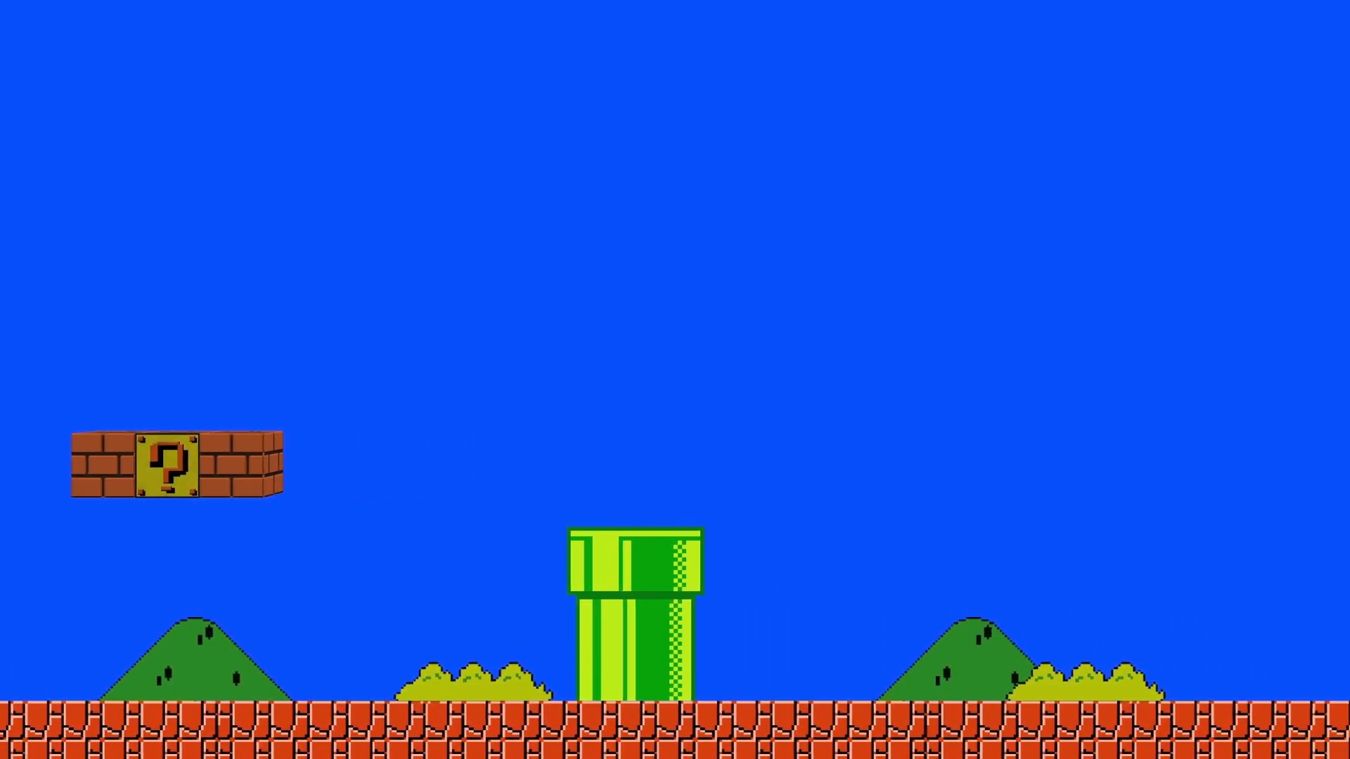 super mario bros platform game on a green screen background motion