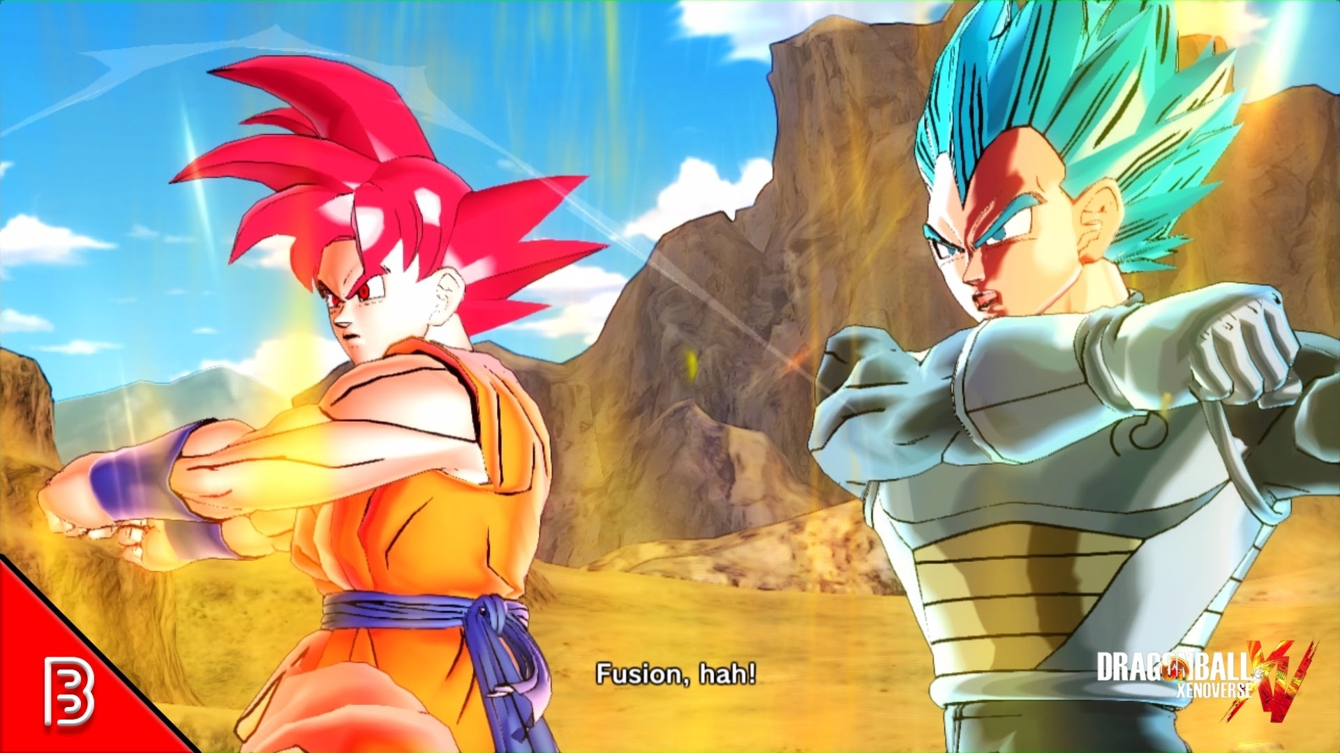 super saiyan god goku + super saiyan blue vegeta fusion