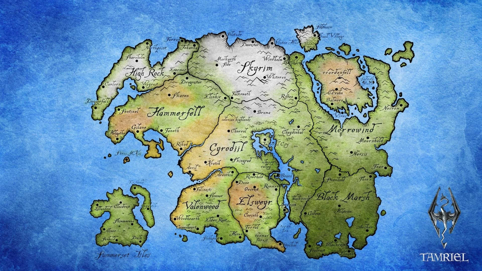 tamriel the elder scrolls maps wallpaper | (46764)
