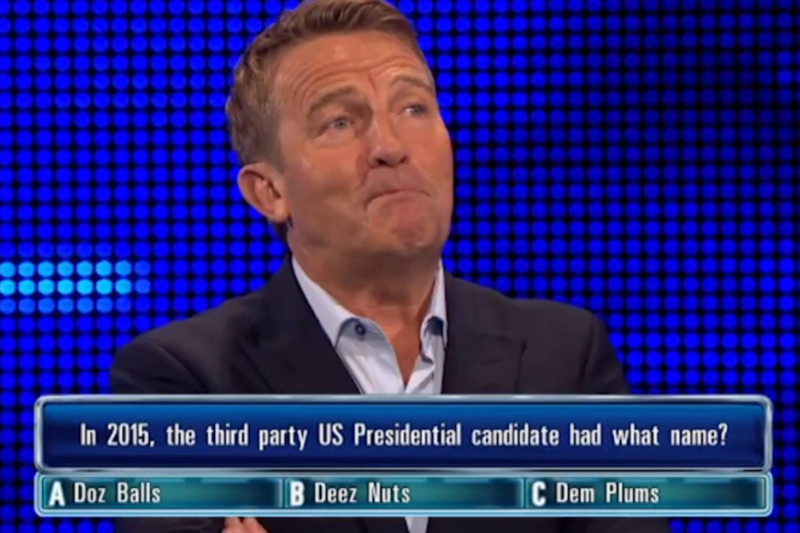 10 Latest Pics Of Deez Nuts FULL HD 1920×1080 For PC Desktop 2018 free download the chase host bradley walsh loses it over deez nuts stuff co nz 800x533