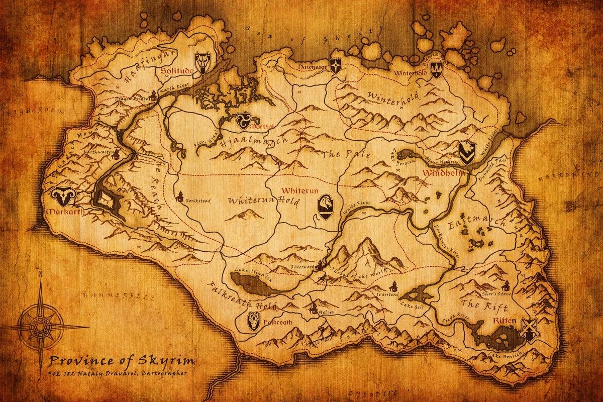 the elder scrolls v: skyrim poster map 11 x 17. $15.00, via etsy