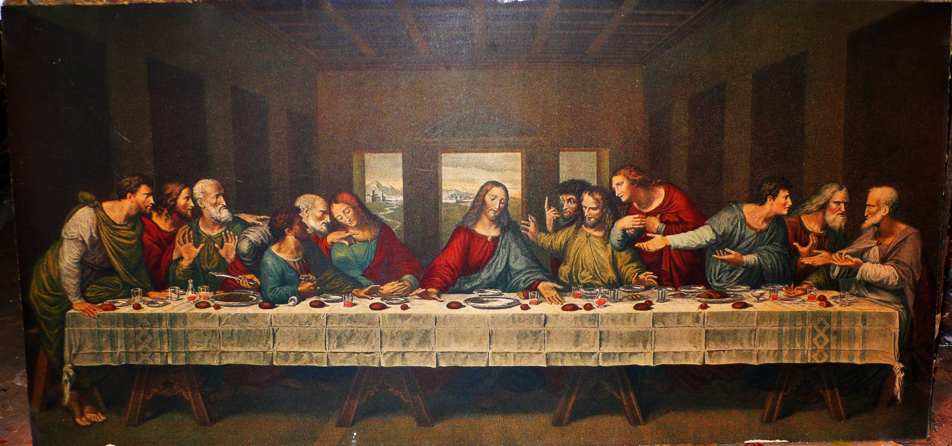 the last supper full hd wallpaper and background image | 3103x1454