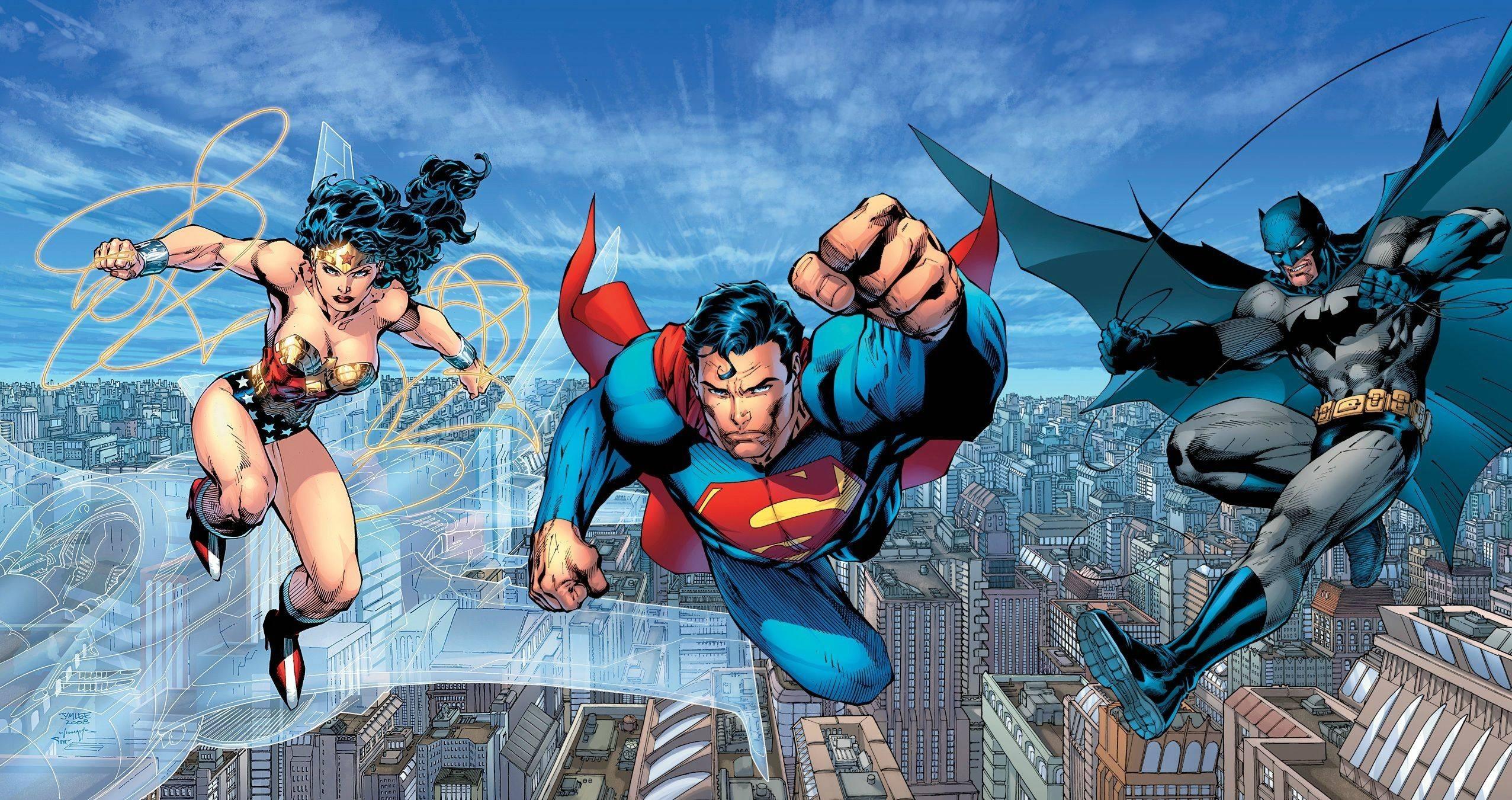 the trinity: a superman, batman & wonder woman desktop wallpaper