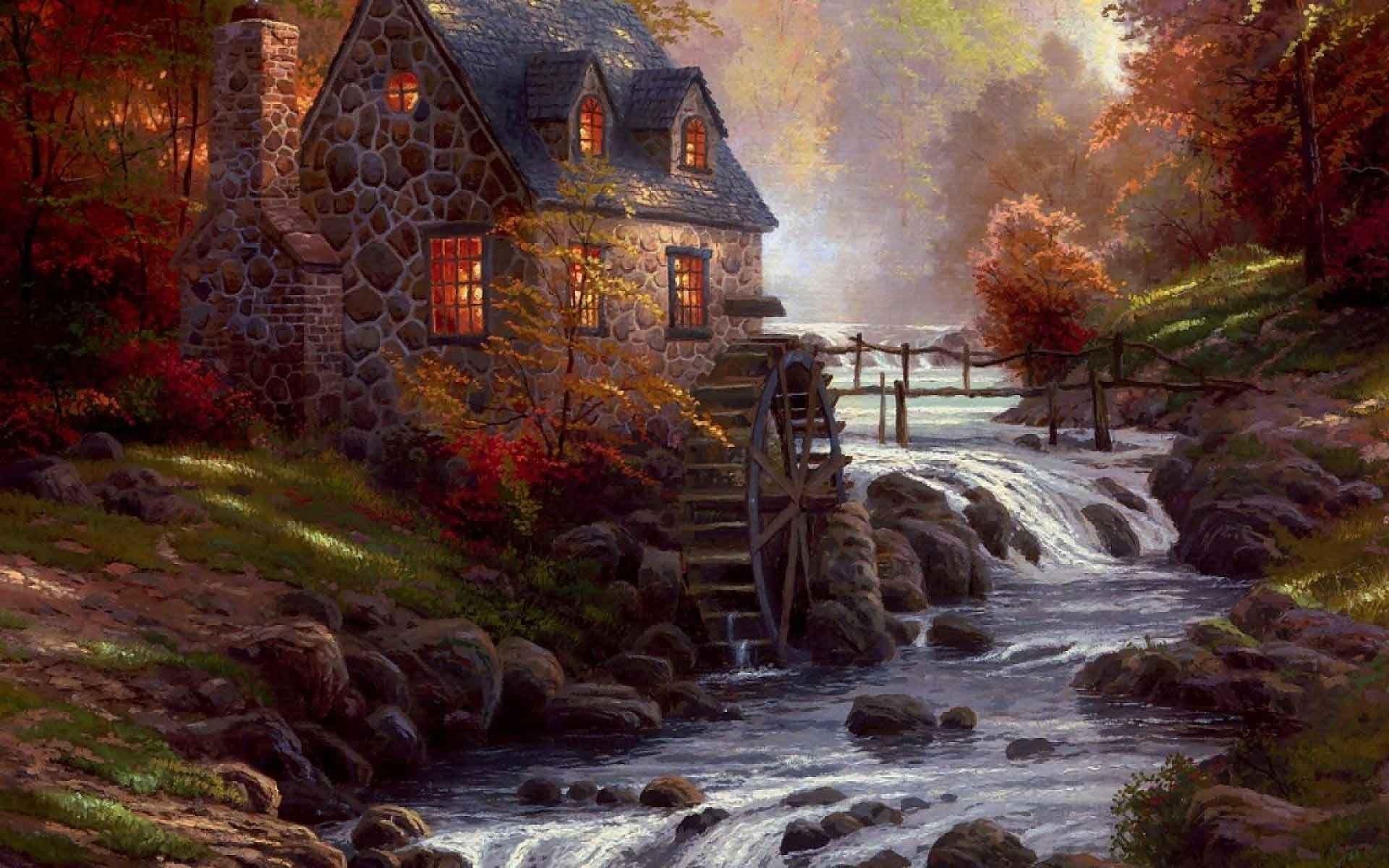 thomas, kinkade, autumn, wallpaper, full, hd, n, cool images