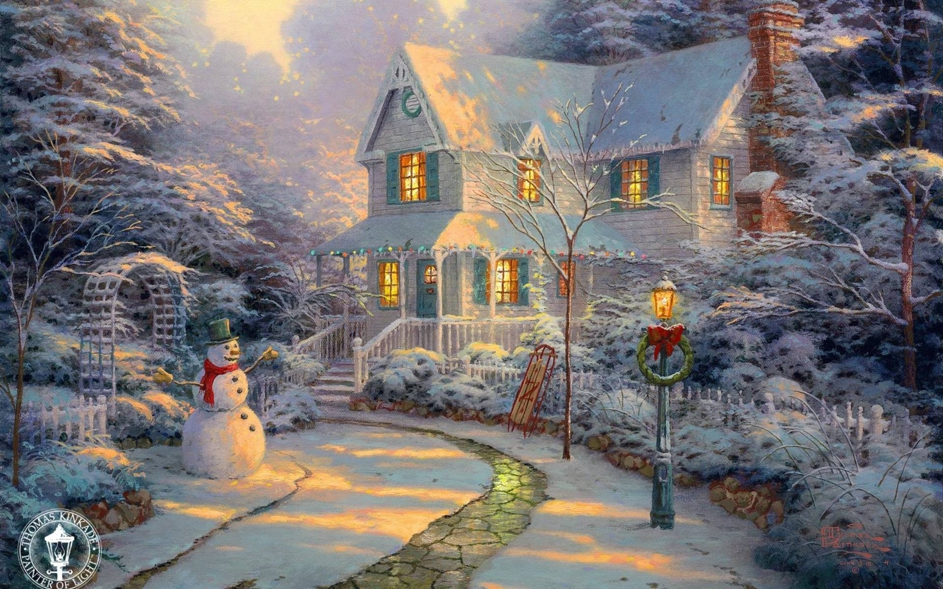 10 Latest Christmas Wallpaper Thomas Kinkade FULL HD 1080p For PC Desktop