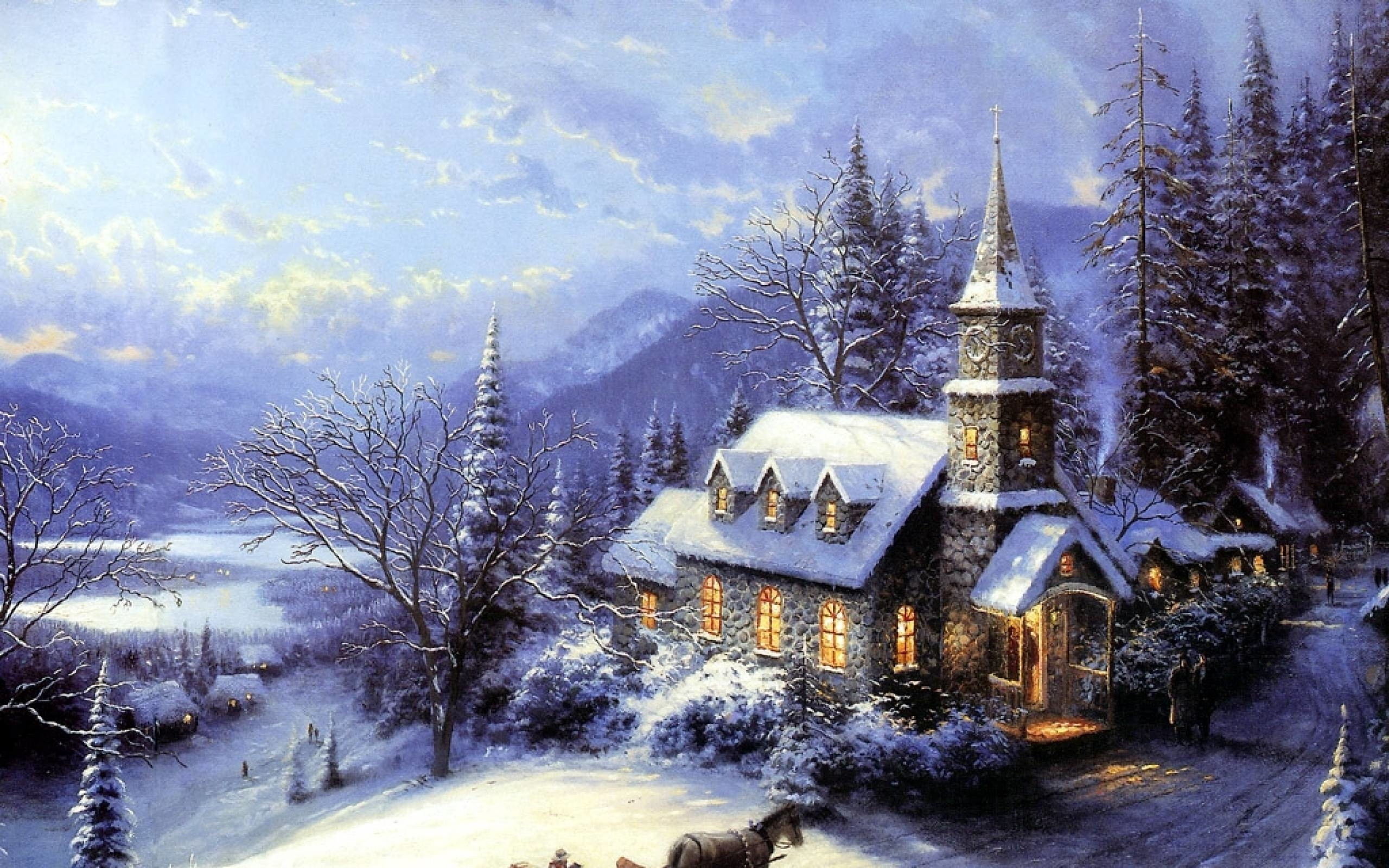 thomas kinkade winter wallpaper (58+ images)