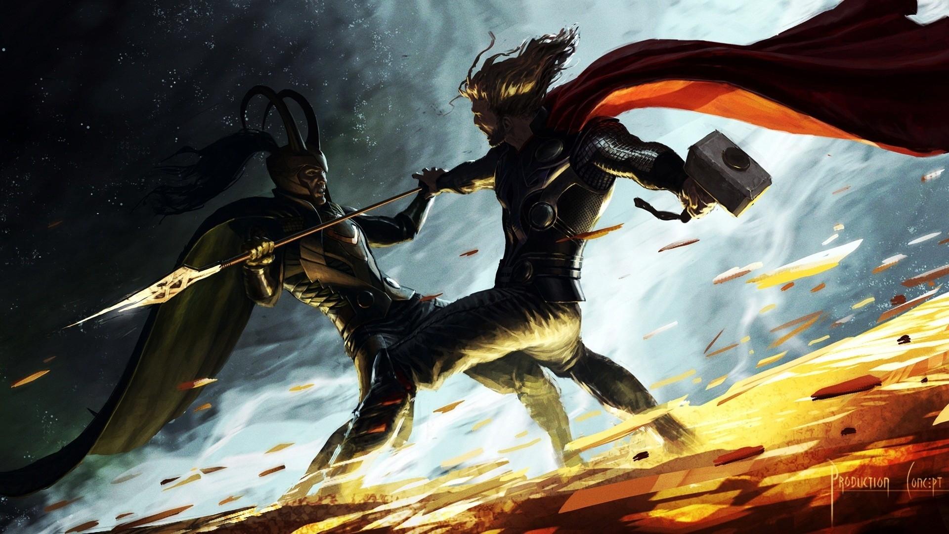 thor, hammer, artwork, marvel comics, spears, loki, gods, norse