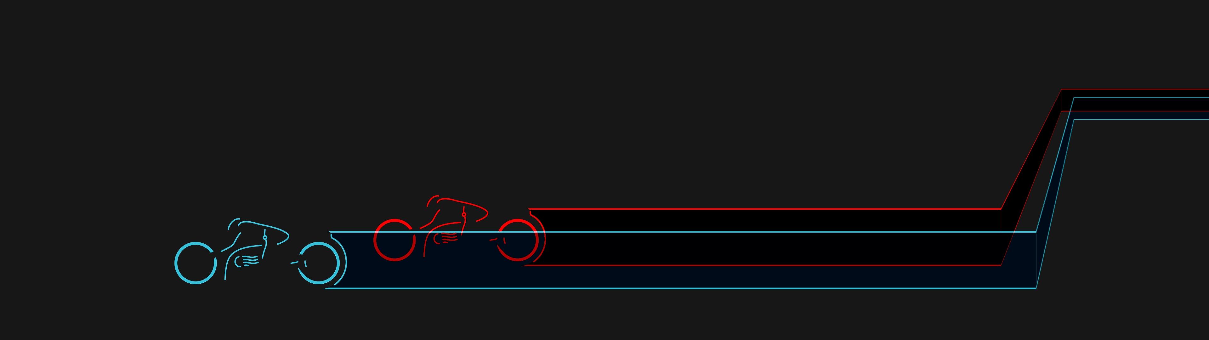 tron cycles redux - dual screen [3840x1080] : wallpaper