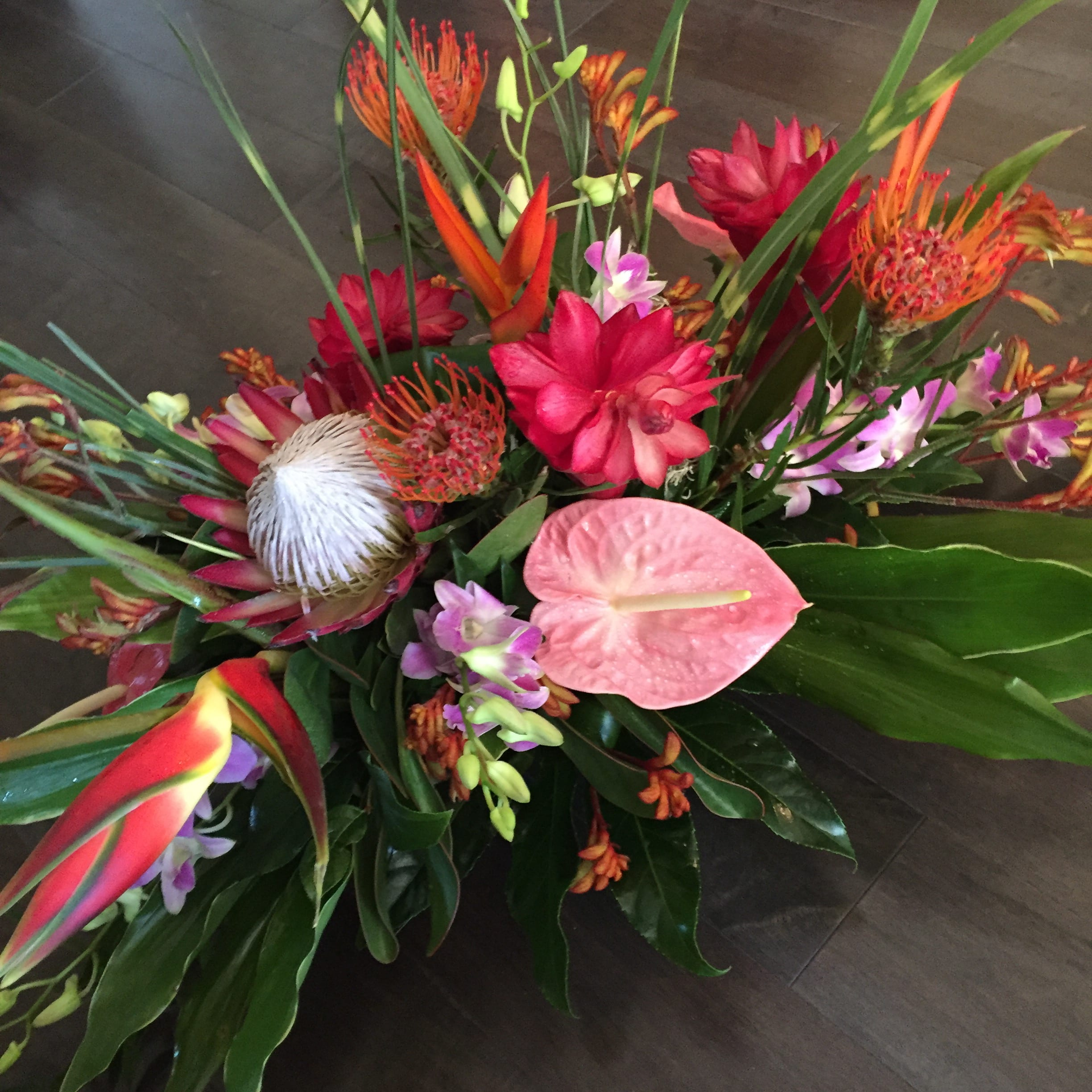 tropical flower centerpiece in concord, ca | full bloom