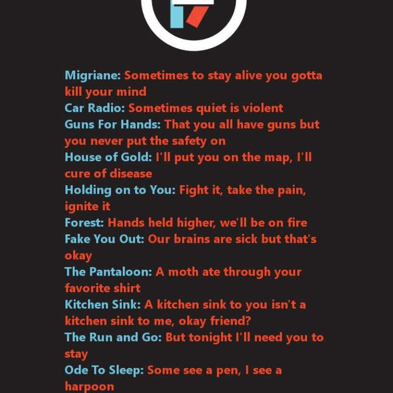 10 Best Twenty One Pilots Wallpaper Lyrics FULL HD 1920×1080 For PC Background 2018 free download twenty one pilots wallpaper bands are life pinterest pilot 800x800