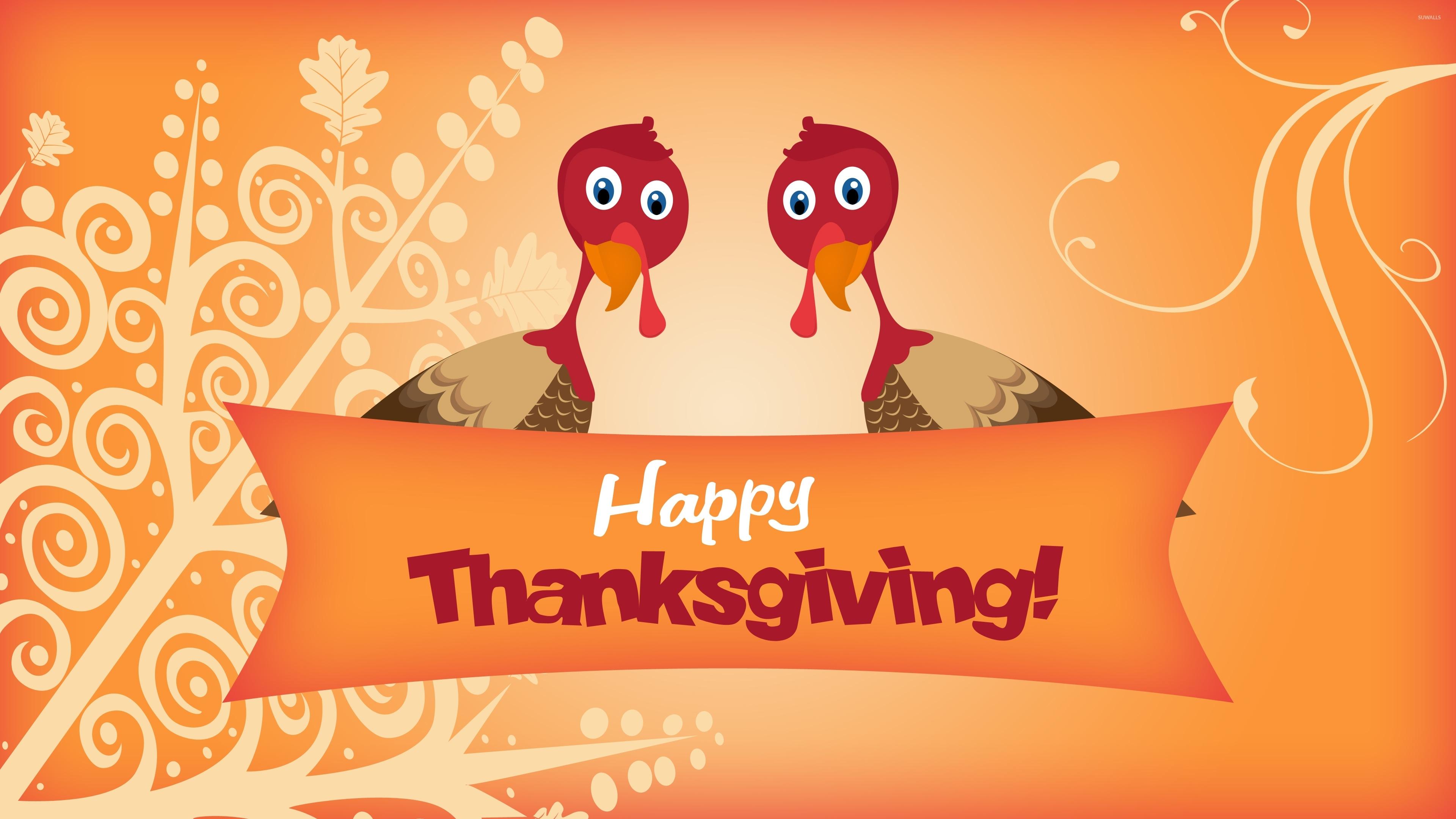 two turkeys wishing you happy thanksgiving wallpaper - holiday