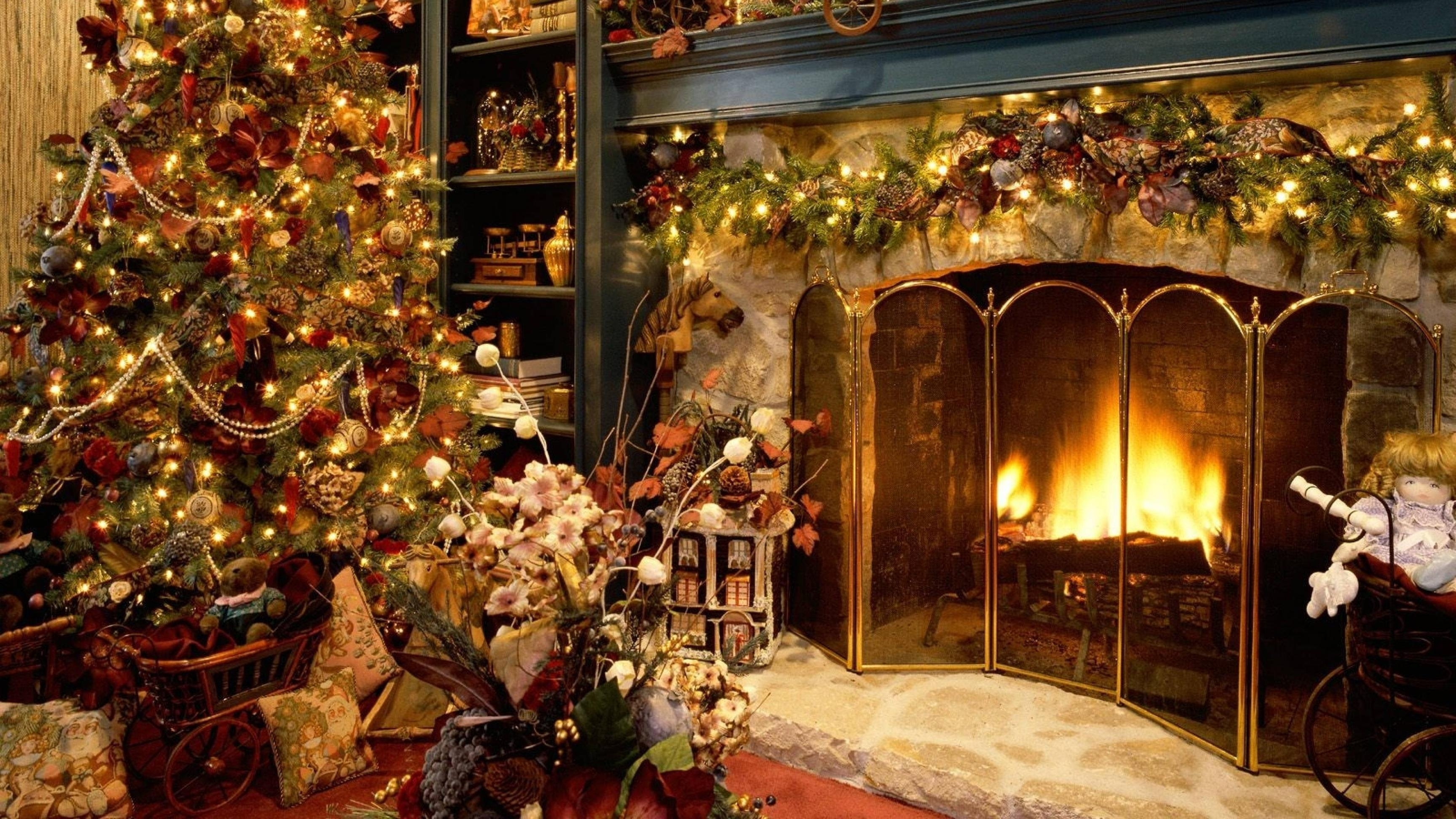 unique animated christmas fireplace desktop wallpaper collection