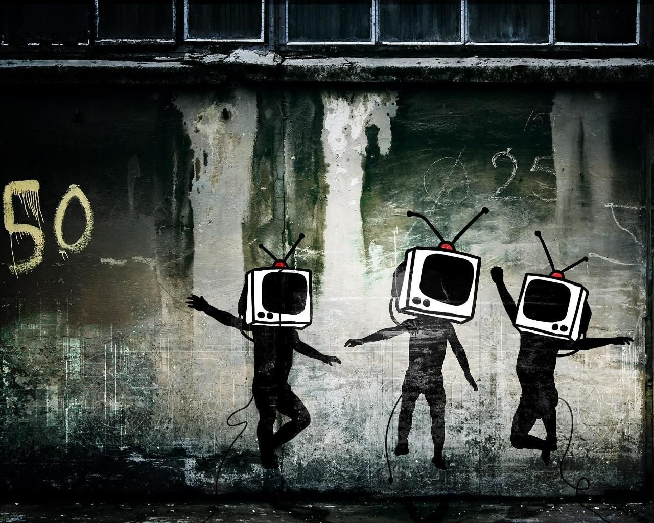 urban street art wallpaper tv man urban graffiti wallpaper | urban