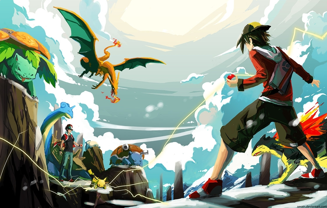 versus red (battle on mt. silver)serain on deviantart