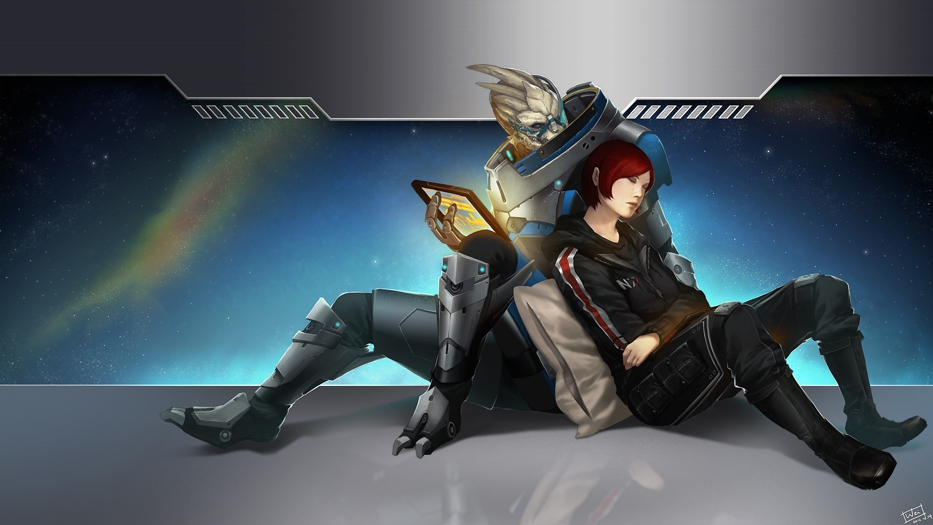 video games, mass effect, n7, garrus vakarian, femshep, commander