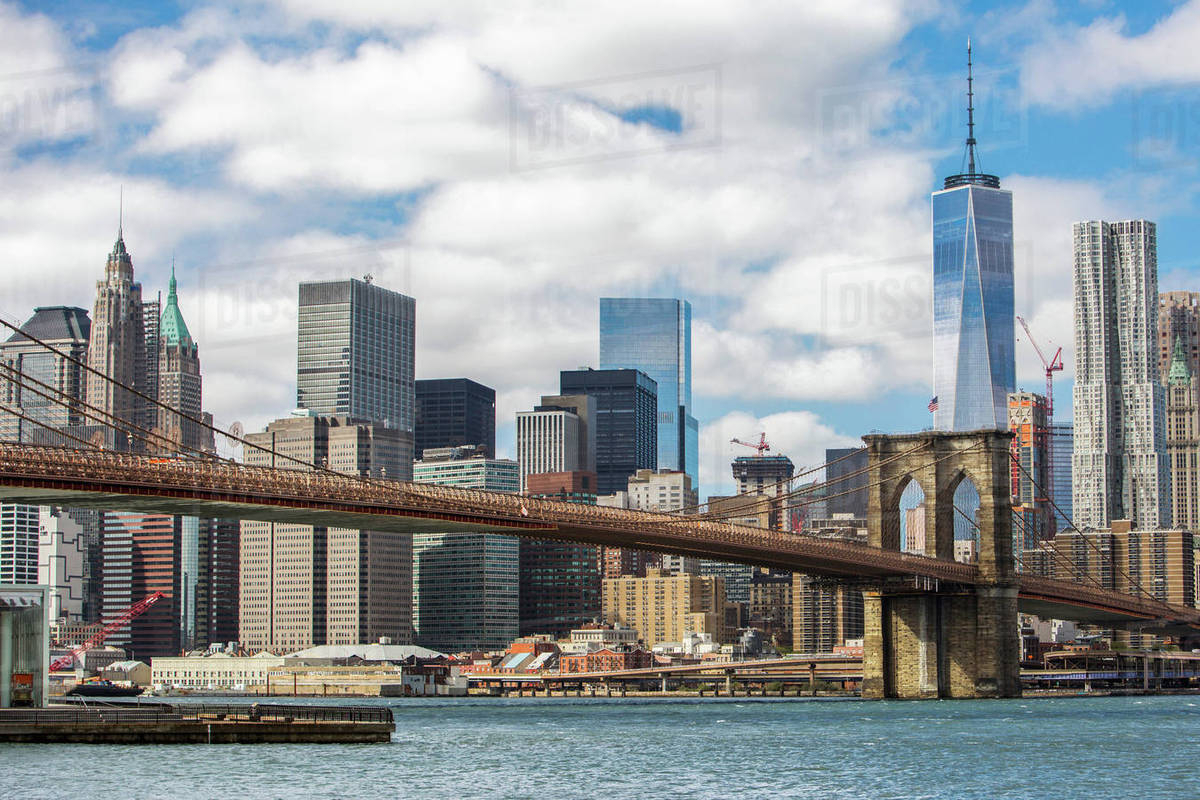 view of new york skyline with brooklyn bridge, new york city, new