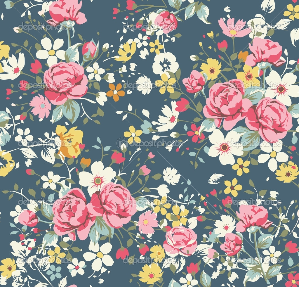 vintage floral print wallpaper   wallpaperhdc