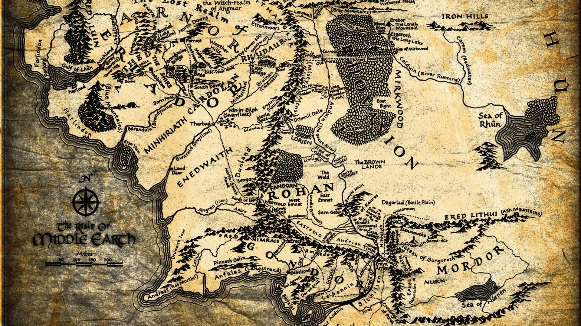 wallpaper : 1920x1080 px, map, middle earth, the lord of the rings