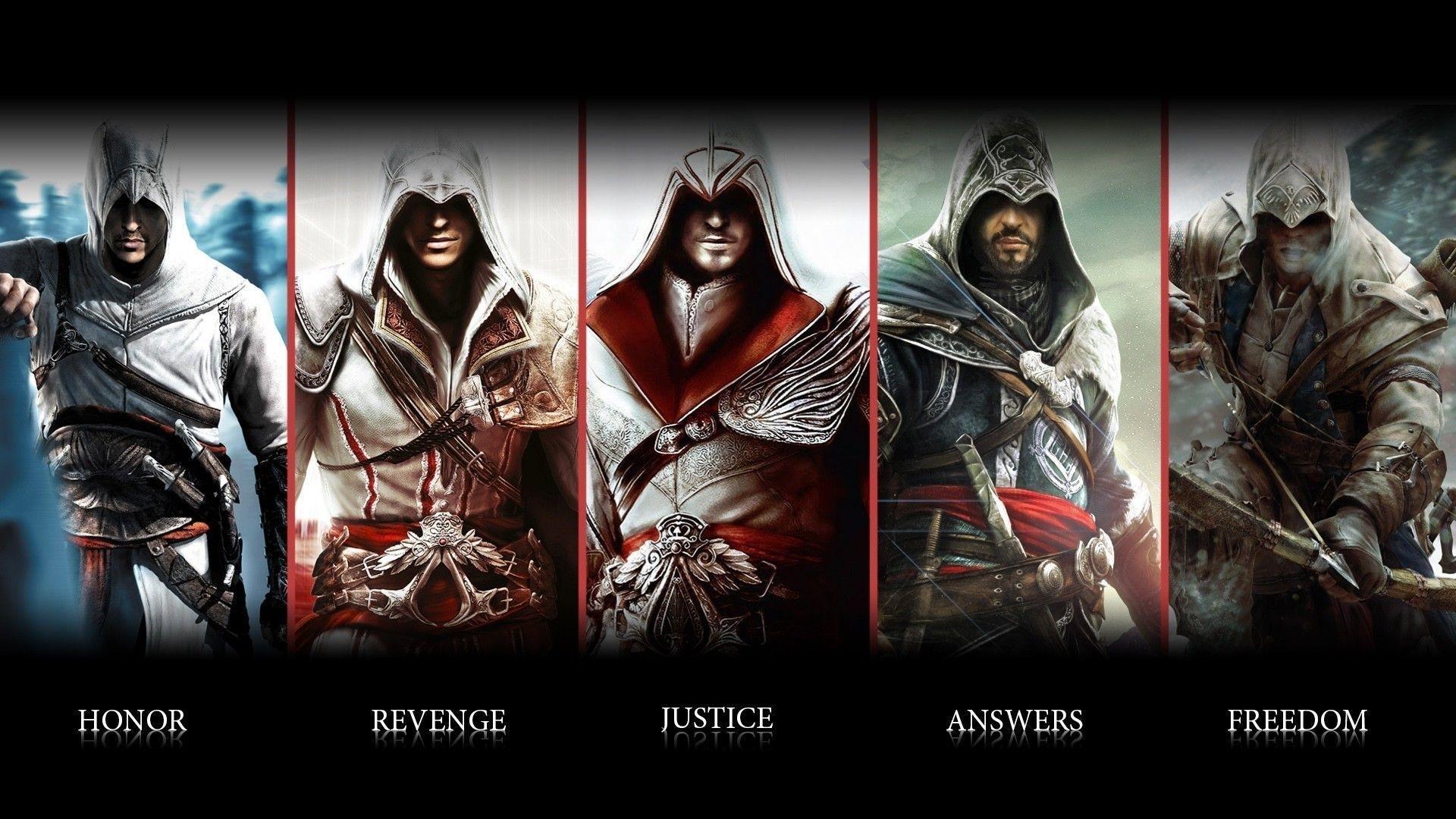 wallpaper assassins creed, ezio, connor, altair, ubisoft, animus