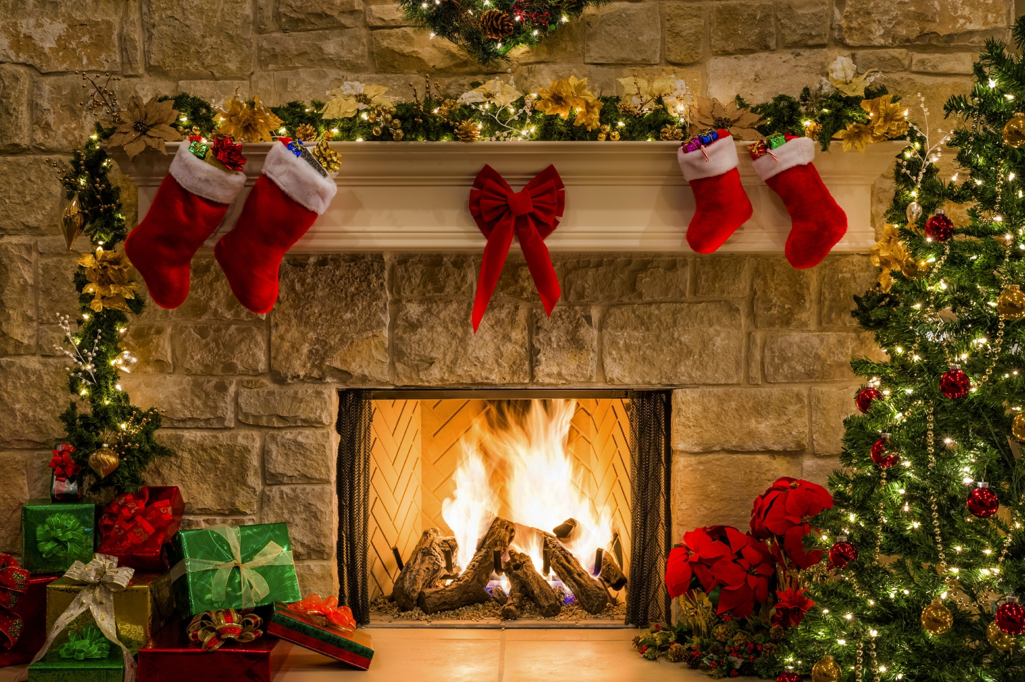 wallpaper christmas, new year, gift, fireplace, fire, christmas tree