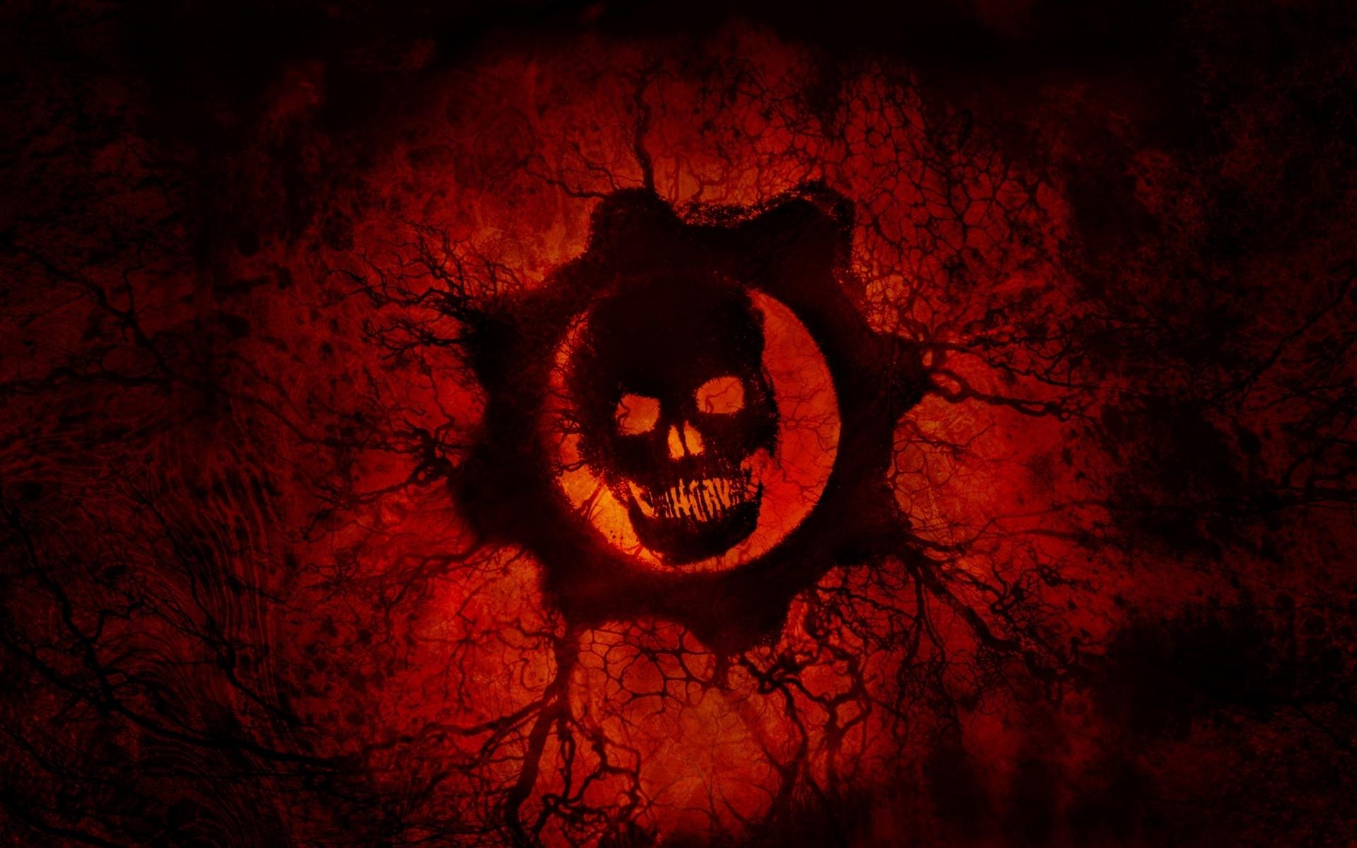 wallpaper crimson omen, red skull, gears of war, hd, 4k, 8k, games