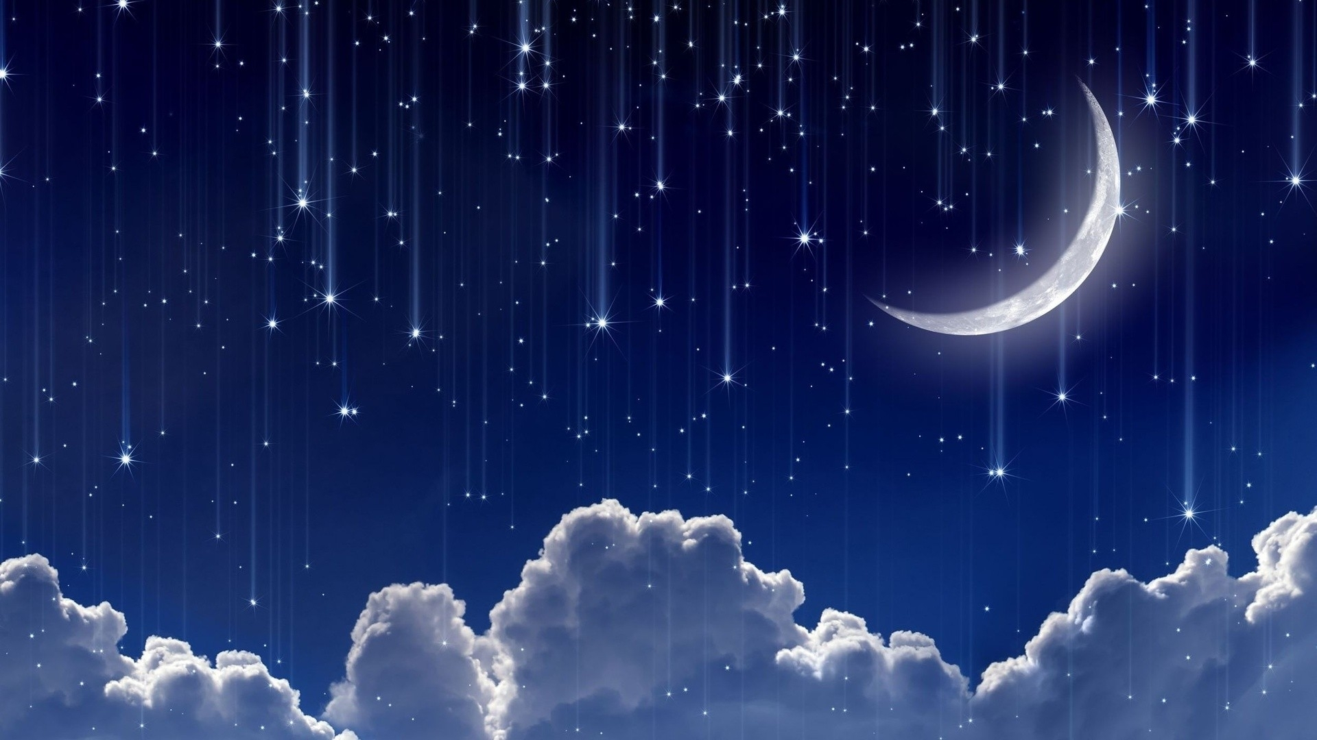 wallpaper : digital art, night, sky, blue background, stars, clouds