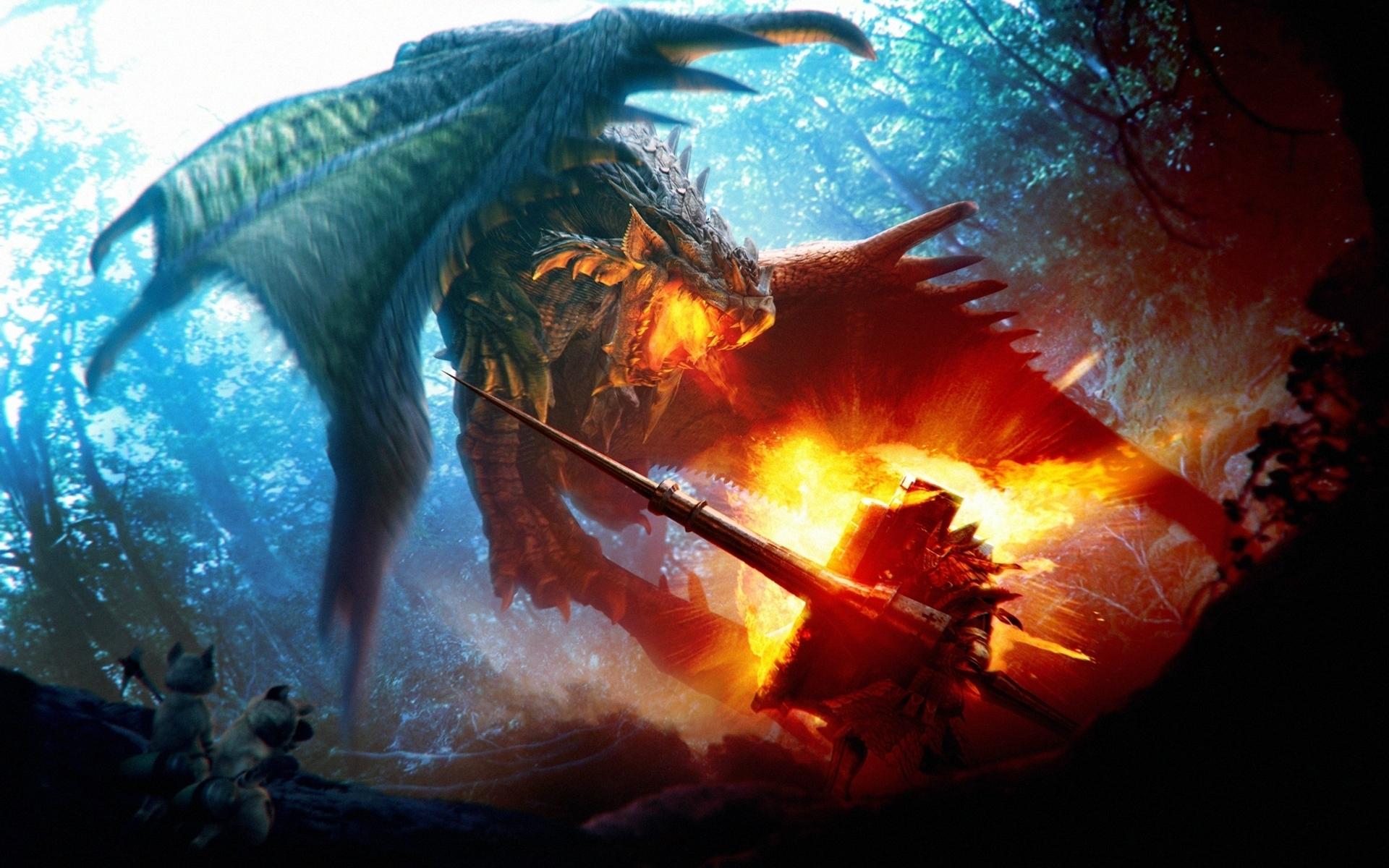 wallpaper : fight, dragon, fire, board, wood 1920x1200 - - 1105907