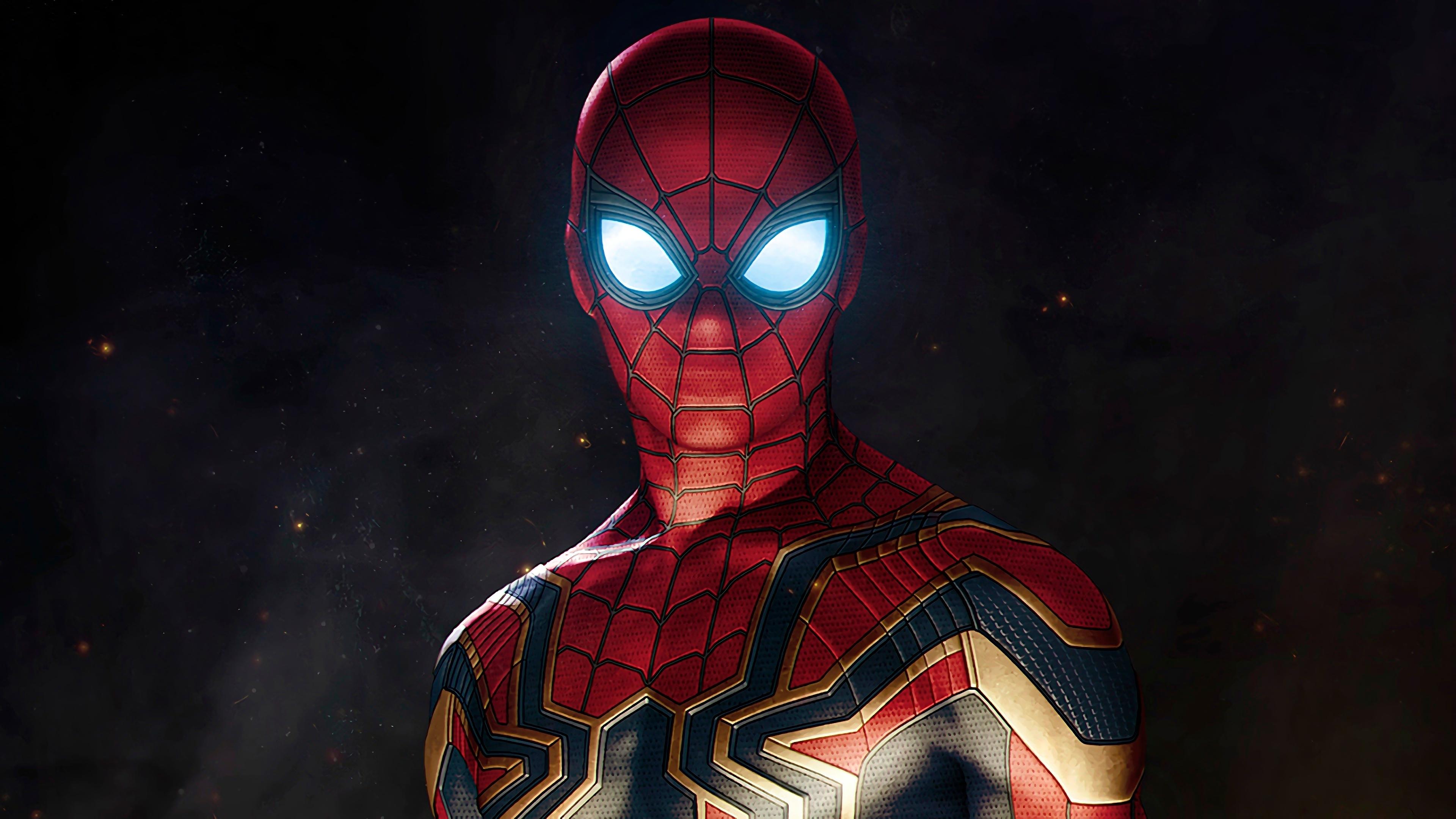 wallpaper iron spider armor, spider-man, avengers: infinity war, 4k