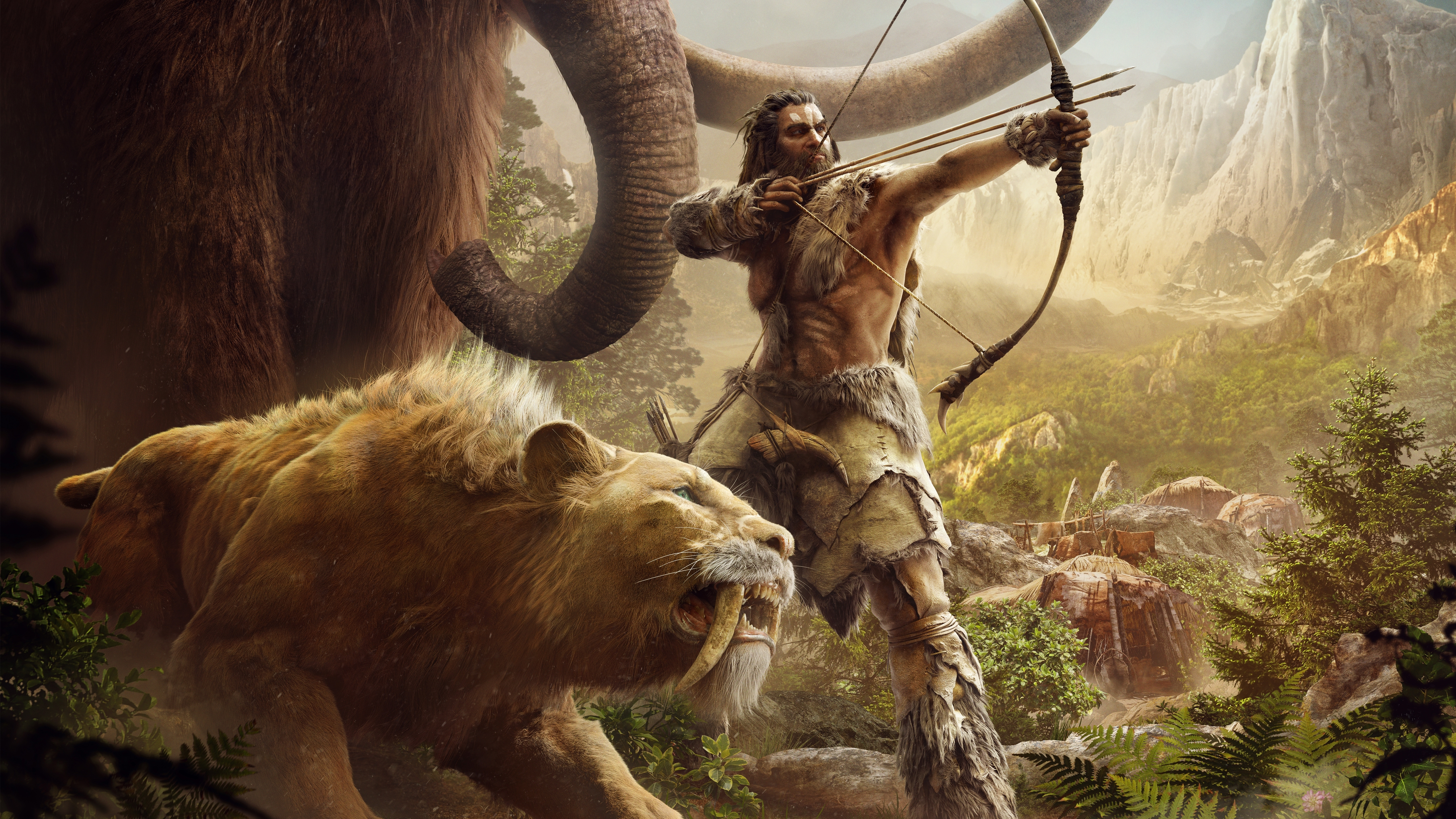 wallpaper mammoth, sabretooth tiger, far cry, primal, 5k, games, #829