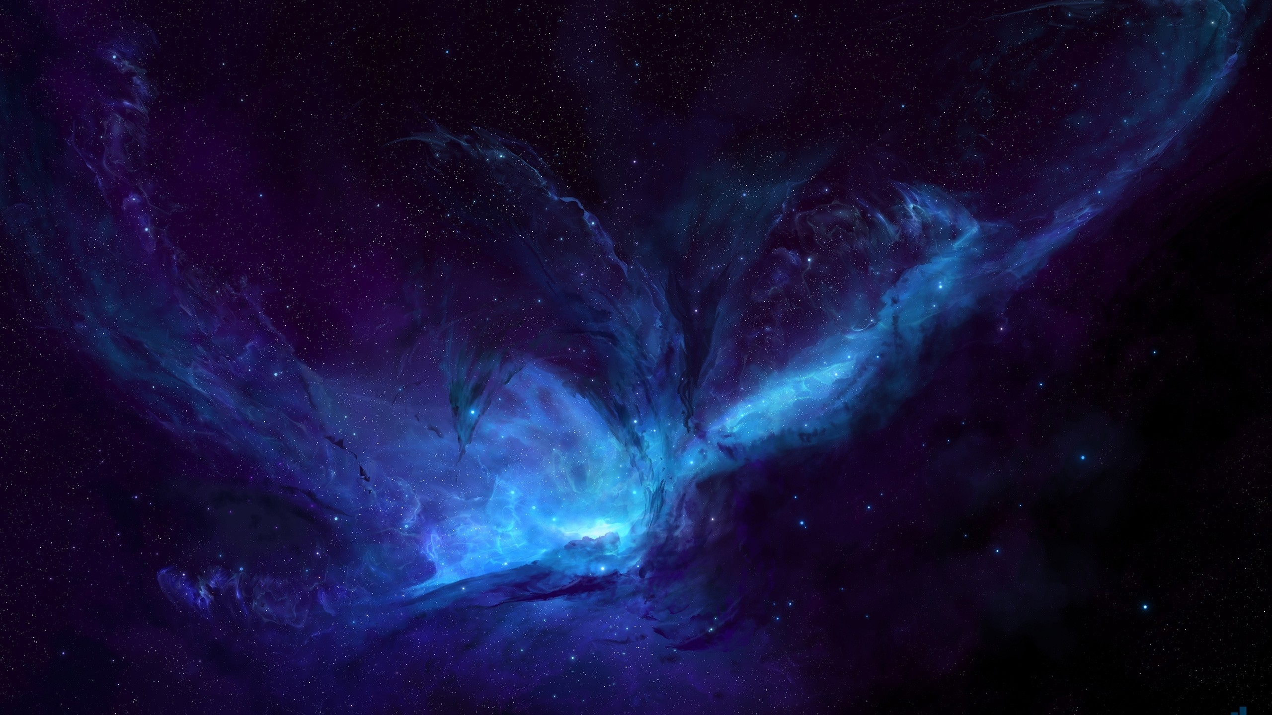 wallpaper nebula, dark space, blue space, deep, hd, space, #1777