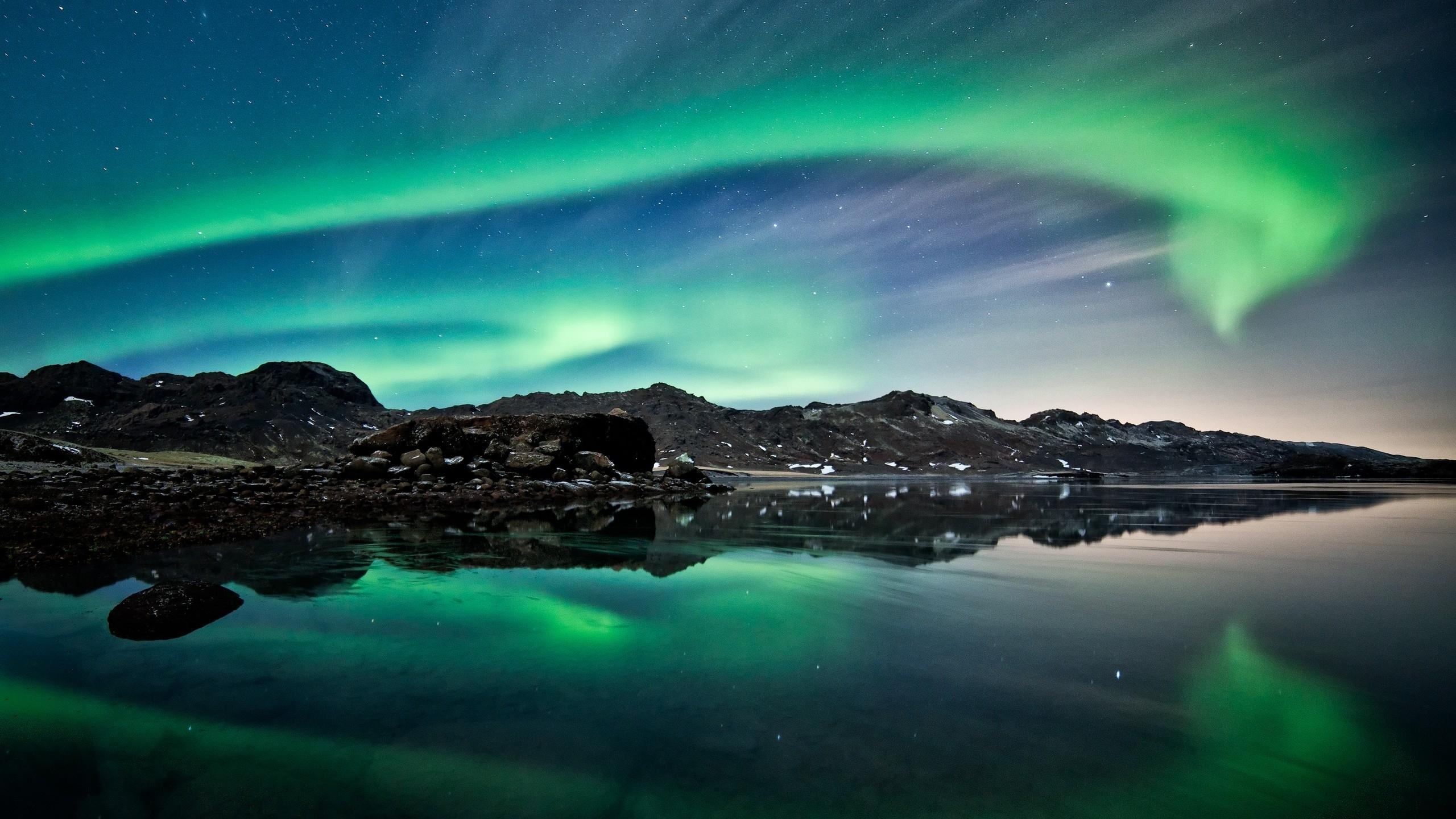 wallpaper northern lights, aurora borealis, iceland, polar regions