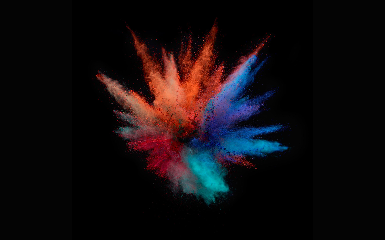 wallpaper orange, blue, colors, dark background, macbook pro, stock