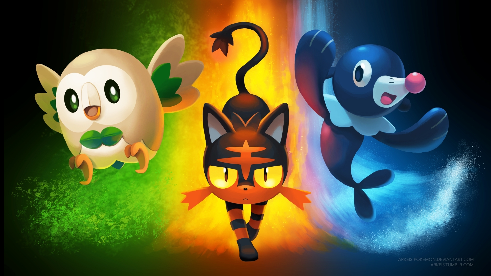 wallpaper] pokemon sun/moon startersarkeis-pokemon on deviantart