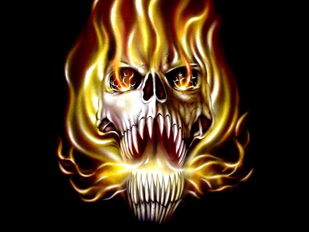 wallpaper skulls with flames - adam 613ca