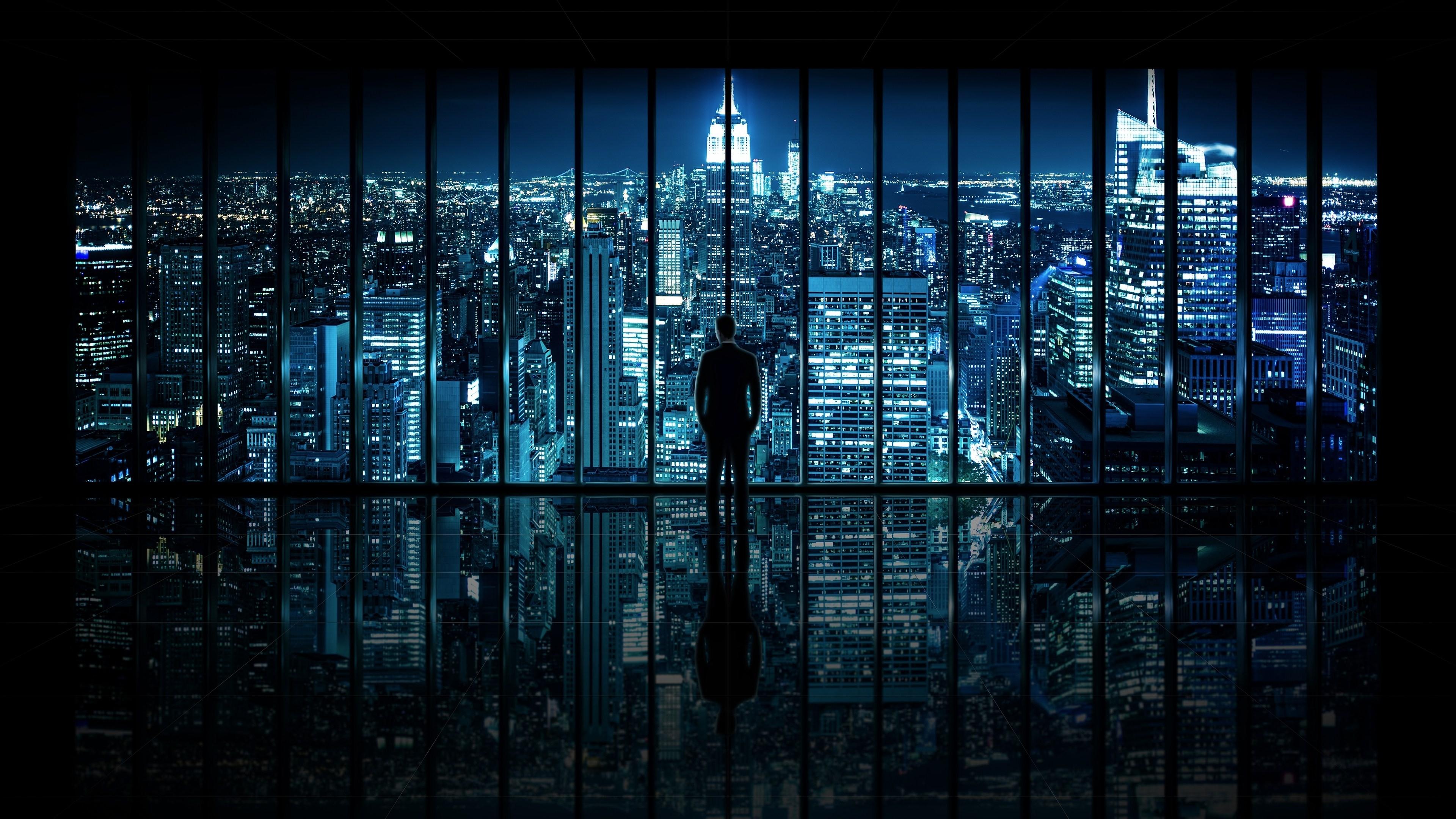 wallpaper : window, cityscape, night, reflection, silhouette