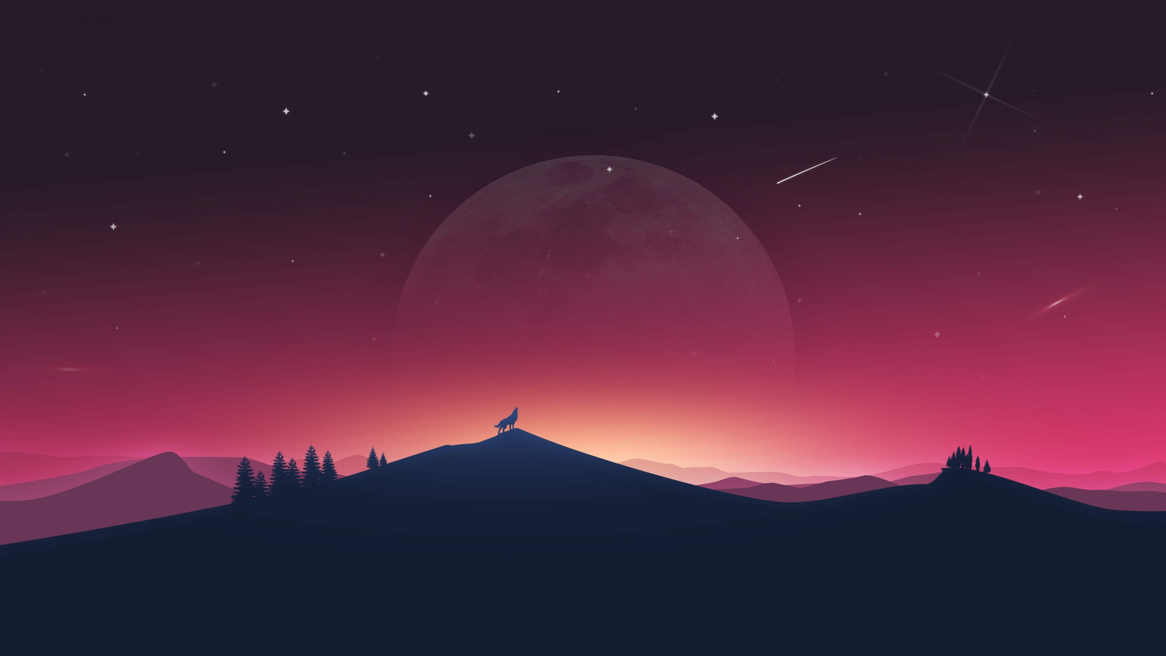wallpaper wolf howling, moon, silhouette, minimal, 4k, creative