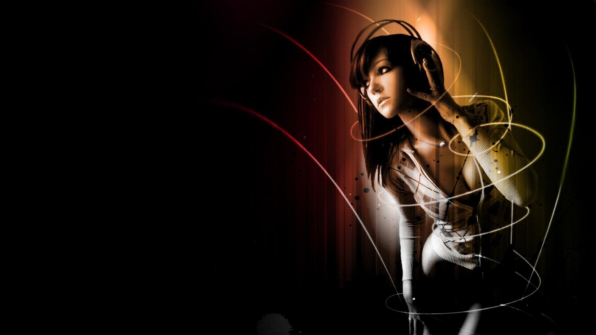 wallpaper : women, model, black background, music, headphones, light