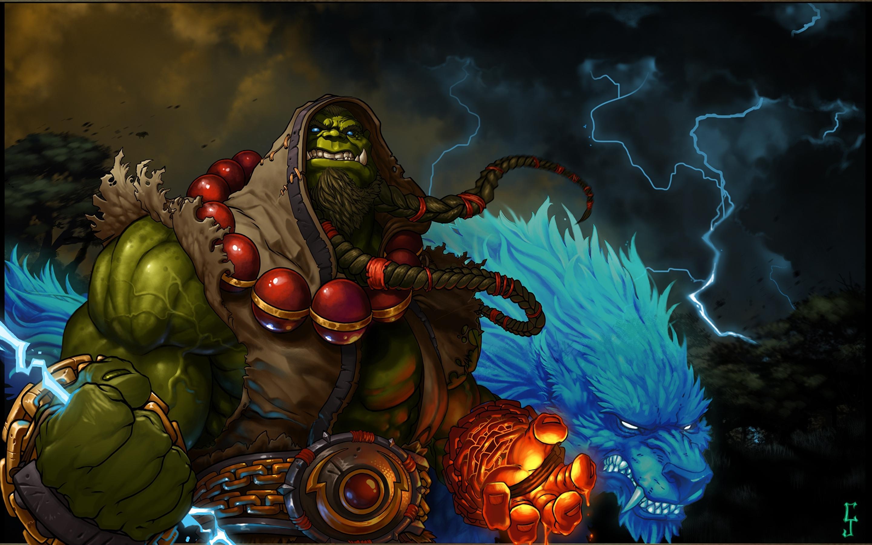 wallpaper wow orc shaman warriors thrall fantasy games 2880x1800
