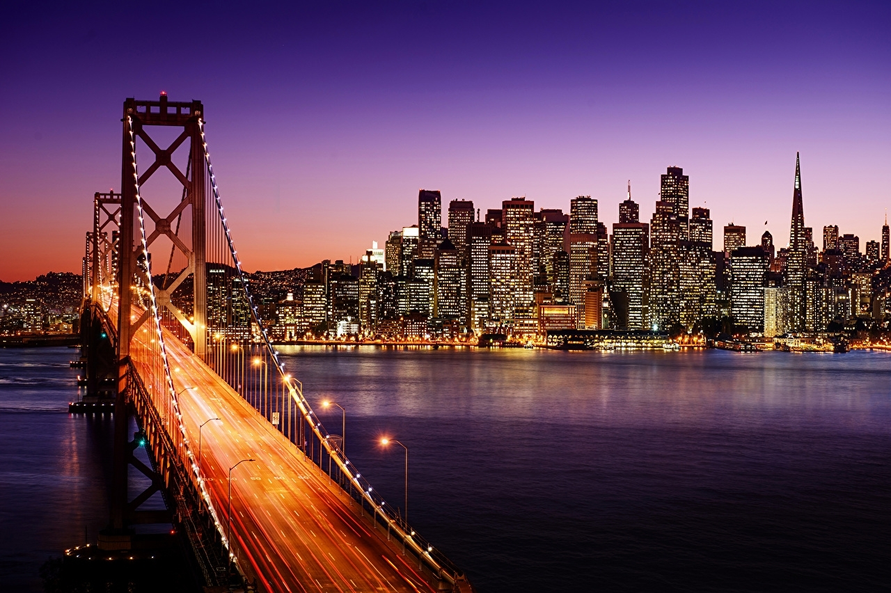wallpapers san francisco usa bridges night rivers skyscrapers cities